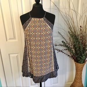 {Umgee} Mosaic Print Halter Ruffle Dress